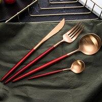 Stainless Steel Tableware Set Spoon Portuguese Knife Western Fork Multicolor Dinner Tools Nordic Hotel Dinner Tableware 4pcs/set