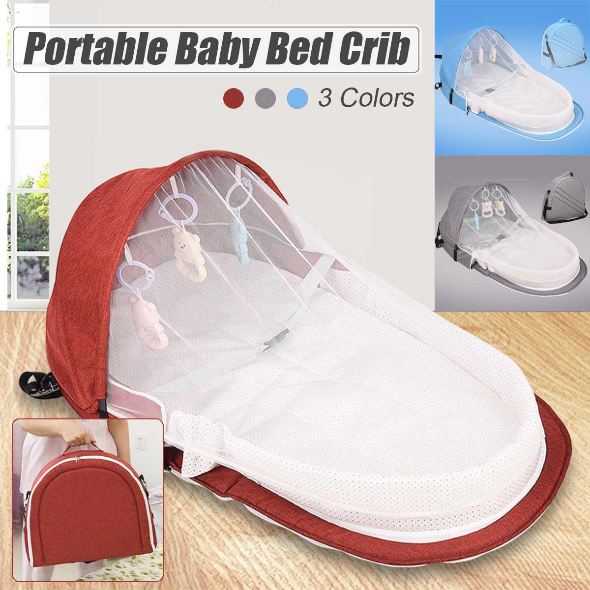 Portable Foldable Baby Bed Multi-function Crib Mummy Bag With Mosquito Cover Diaper Change Bed For Travelling Red Blue Gray