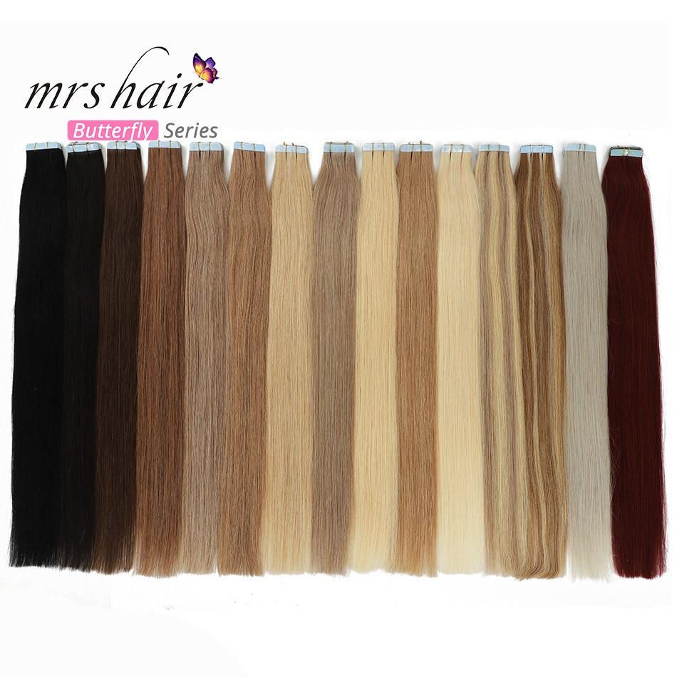 MRSHAIR 40pcs Tape In Human Hair Extensions 16