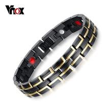 Bracelet Chain-Link Bio-Energy Stainless-Steel Men Vnox Adjustable Length