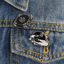 цены на Punk Black hand Wizard's Book Magic ball in Hand Enamel Pins Badge Brooches for Shirt Denim coat Clothing pins gift for friend  в интернет-магазинах