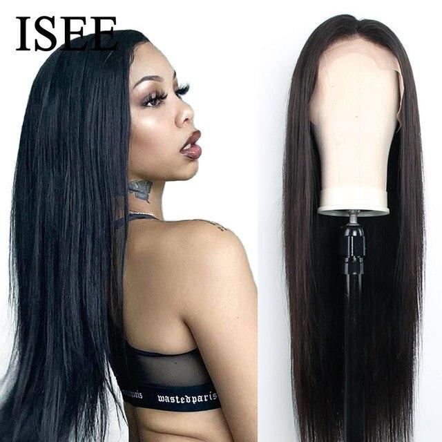 250% плотные прямые передние человеческие волосы на сетке, парики для женщин, малайзийские прямые передние парики на сетке, прямые человеческие волосы ISEE