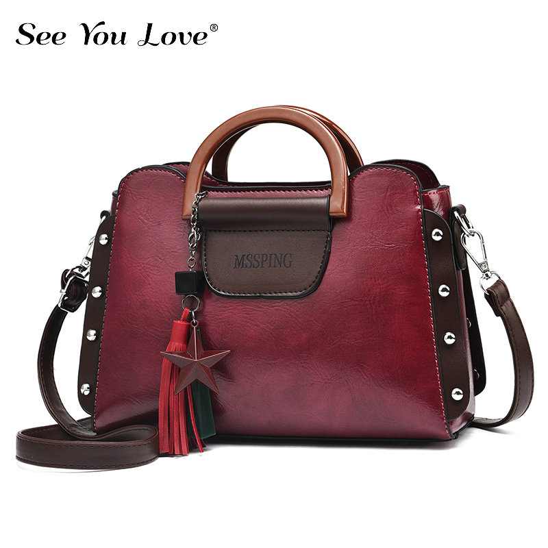 New Rivet Luxury Ladies Crossbody Bags For Women 2019 Tassel Brand Retro Flap Zipper Leather Women Shoulder Bag Female Handbags