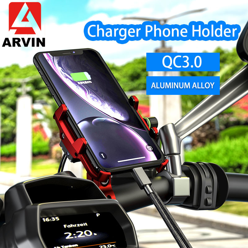 ARVIN QC3.0 Aluminum Motorcycle Phone Holder With USB Charger Handlebar Charging Bracket Stand For 3-7 Inch Mobile Phone Mount