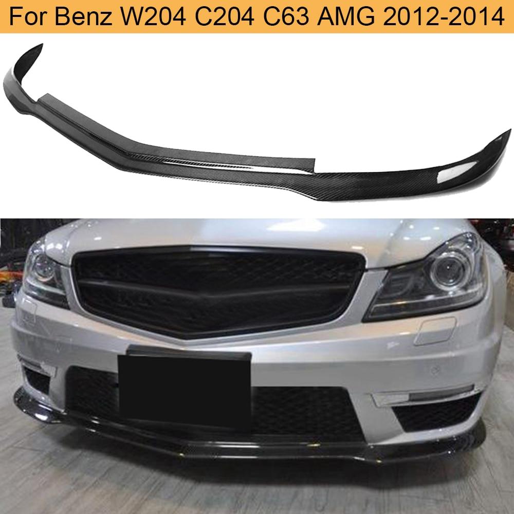 Için W204 C63 karbon Fiber araç tampon ön dudak Spoiler için Mercedes Benz W204 C63 AMG 2012 2013 2014 ön dudak Spoiler Splitters