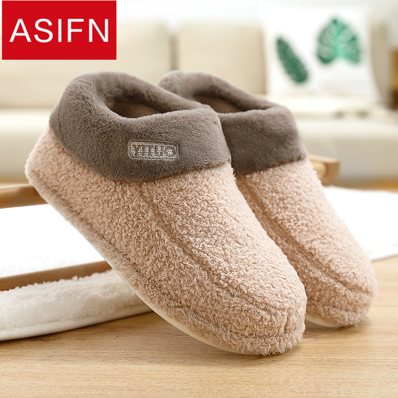 ASIFN Men's Fur Winter Slippers Waterproof Non-slip Warm Home Plus Velvet Female Slipper Male Couple Letters Chinelo Masculino