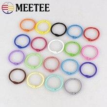 Meetee 30pcs 30/45mm Colorful Metal Key Open O Ring Buckles DIY Handmade Purse Garment Book Opening Loose Leaf Accessories AP431