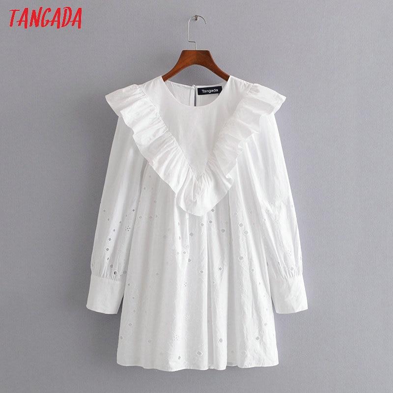 Tangada Women Embroidery Ruffles White Cotton Dress 2020 Long Sleeve Back Button Females Mini Dresses Vestidos 3H417
