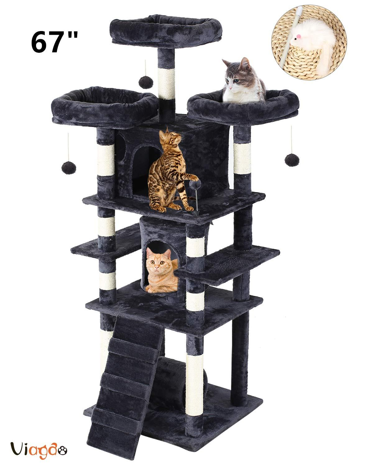 67 inch Multi-Level <font><b>Cat</b></font> <font><b>Tree</b></font> <font><b>for</b></font> <font><b>Large</b></font> <font><b>Cats</b></font>, Stable <font><b>Cat</b></font> Tower Condo Furniture with Scratching Posts 3 Plush Perches image
