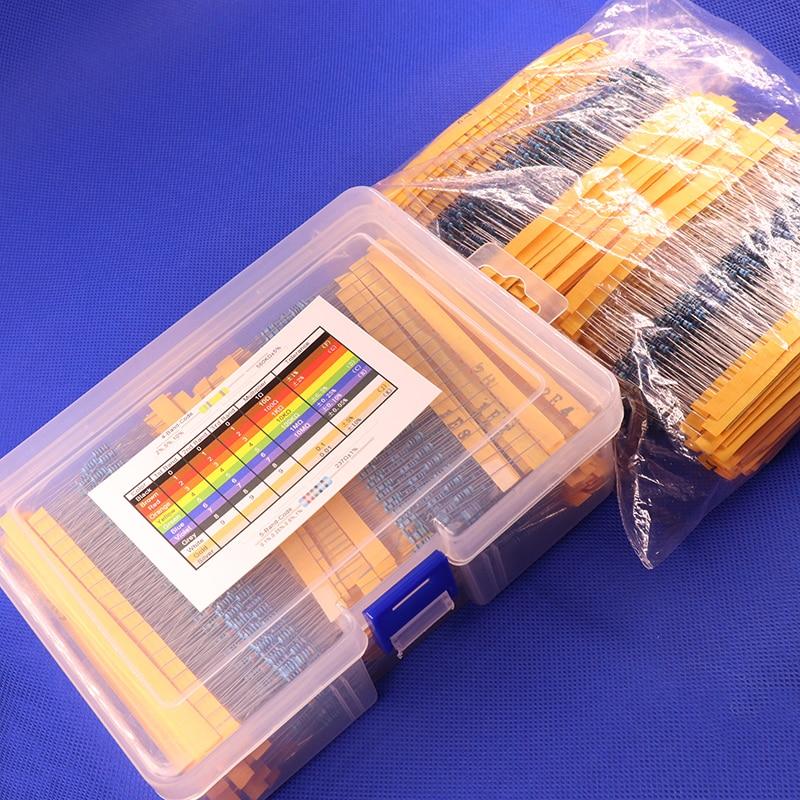 2600pcs 130 Values 1/4W 0.25W 1% Metal Film Resistors Assorted Pack Kit Set Lot Resistors Assortment Kits Fixed Capacitors