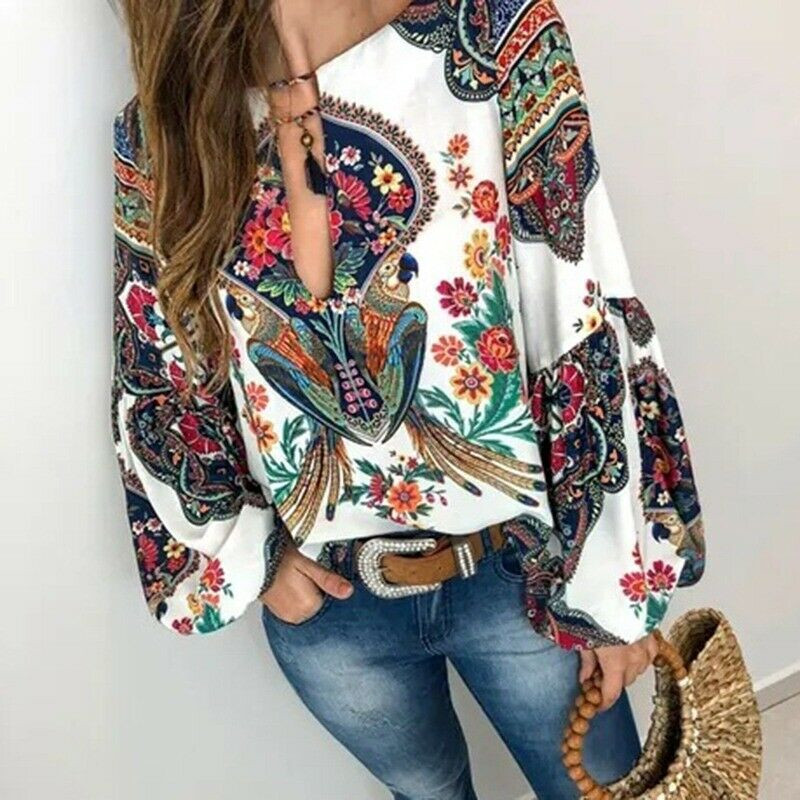 Womens BOHO Long Sleeve V-neck Loose Tops T Shirt OL Ladies Casual Floral Blouse Long Lantern Sleeve Oversize Blouse T Shirt Top