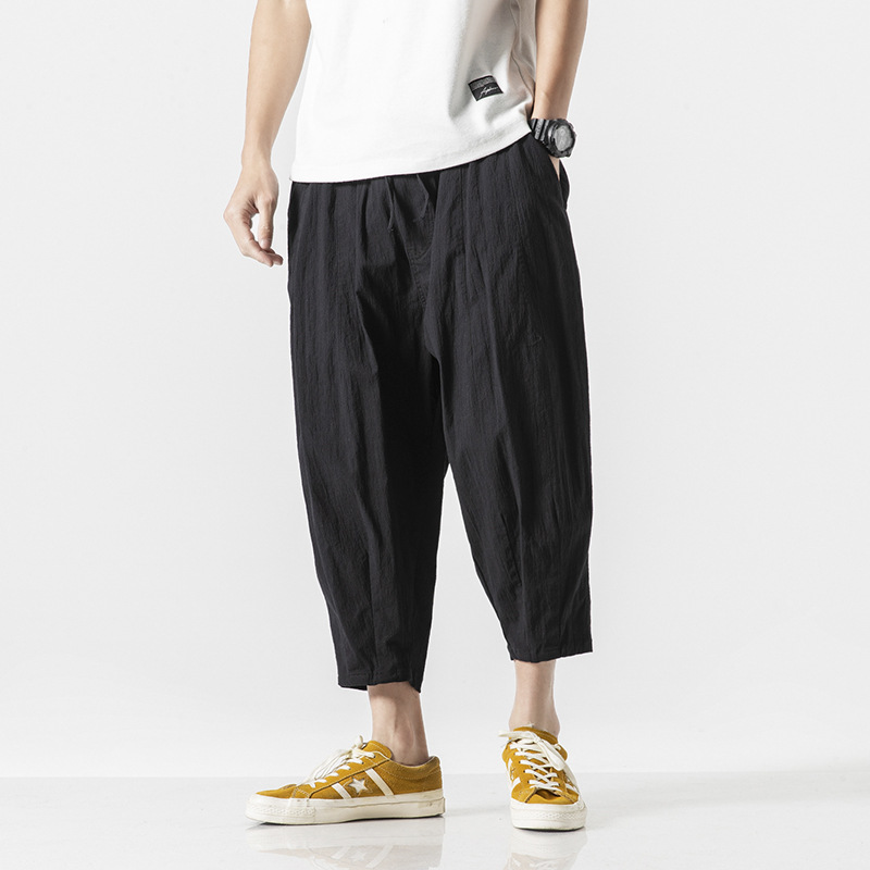 Casual Pants Hallen Pants Seven-minute Pants Men Chinese Flax Pants With Loose Size And Broad Legs