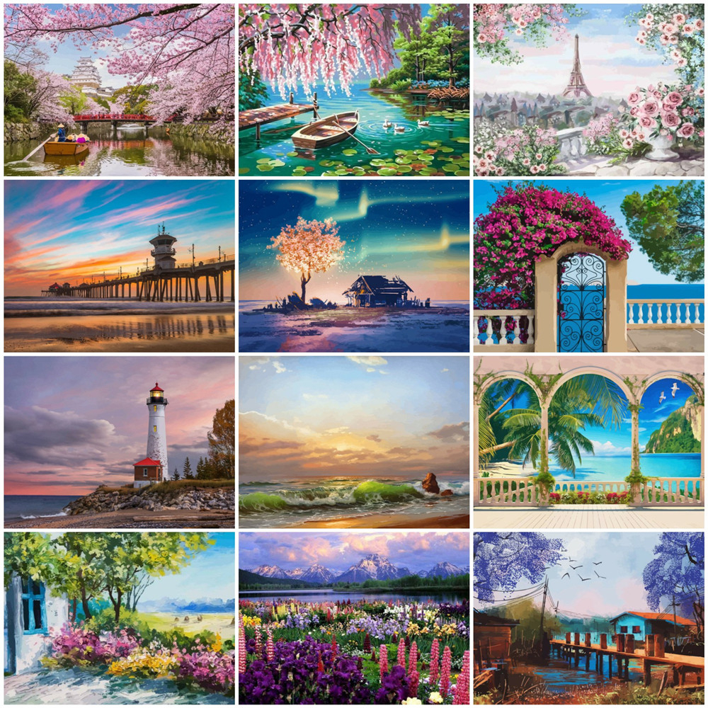 HUACAN Painting By Number Landscape Drawing On Canvas HandPainted Art Gift DIY Picture By Number Tree Spring Kits Home Decor