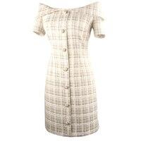Summer Short Sleeve A line Office Dress Elegant Temperament Knee Length Women Clothing Boat Neck Hip Package Party Dress