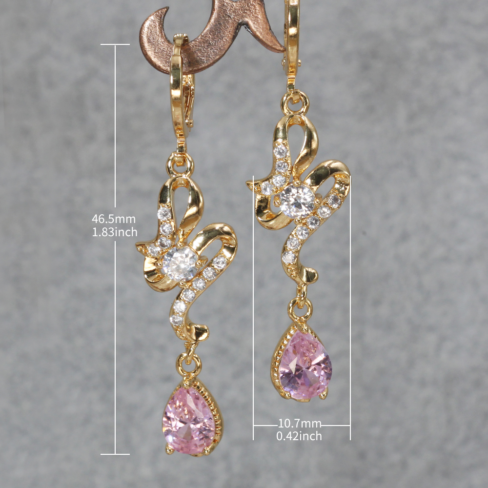 Hc654aa7496b043698116181a06b5e722H - Trendy Vintage Drop Earrings For Women Gold Filled  Red Green Pink Lavender Zircon Earrings Gold  Earring Wedding  Jewelry
