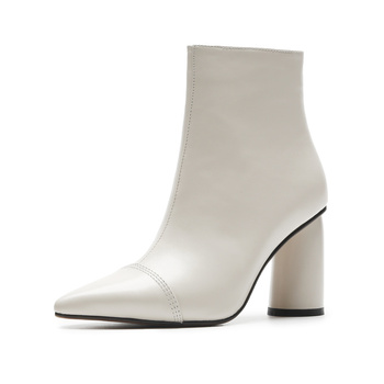 2019 new arrival pointed toe zipper cow leather thin heel ankle boots high heels solid office lady keep warm winter shoes