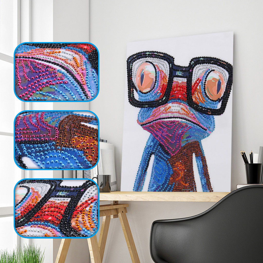 5D Special Shaped Diamond Embroidery Frog Picture Partial Drilled Diamond Painting Cross Stitch Kits DIY Rhinestone Art Crafts image