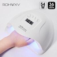 ROHWXY SUN 5X Plus led uv lampa do paznokci suszarka 54W/48W/36W Ice lampa do żel do manicure lampa do paznokci lampa do lakieru żelowego Manicure
