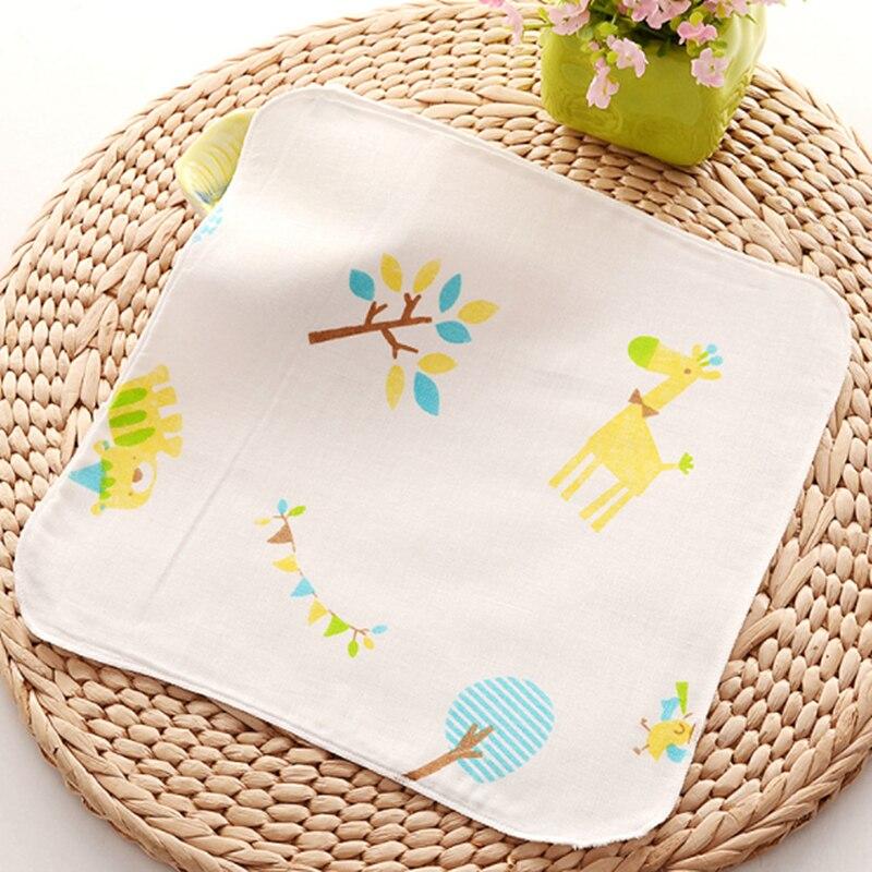 Baby Towel Cotton 4 layers Gauze 30*30cm Newborn Infant Cartoon Face Hand Bathing Bib Handkerchief Baby Stuff Baby Tawel Washed
