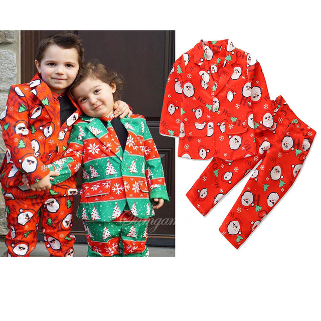 Boys Clothes Winter Christmas Outfits Suits Long Sleeve Children Clothes Toddler Boys Sets Gentleman Suits Costume For Kids