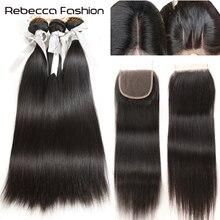Rebecca extensiones de cabello humano con cierre, 3 mechones con cierre, extensión de cabello Remy, mechones de pelo liso peruano con cierre