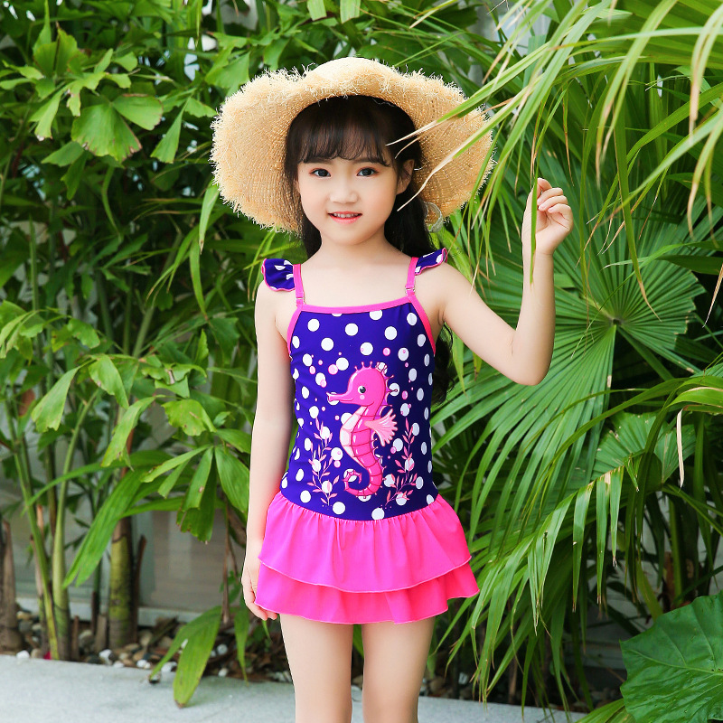 KID'S Swimwear Girls South Korea Cute Camisole Dress Triangle Small CHILDREN'S Baby CHILDREN'S Students Swimming Suit