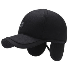 2020 new men #8217 s winter outdoor leisure hat old man baseball cap middle-aged and elderly warm cotton autumn old earmuffs cap whole cheap Adult Unisex Casual Adjustable One Size Solid Baseball Caps