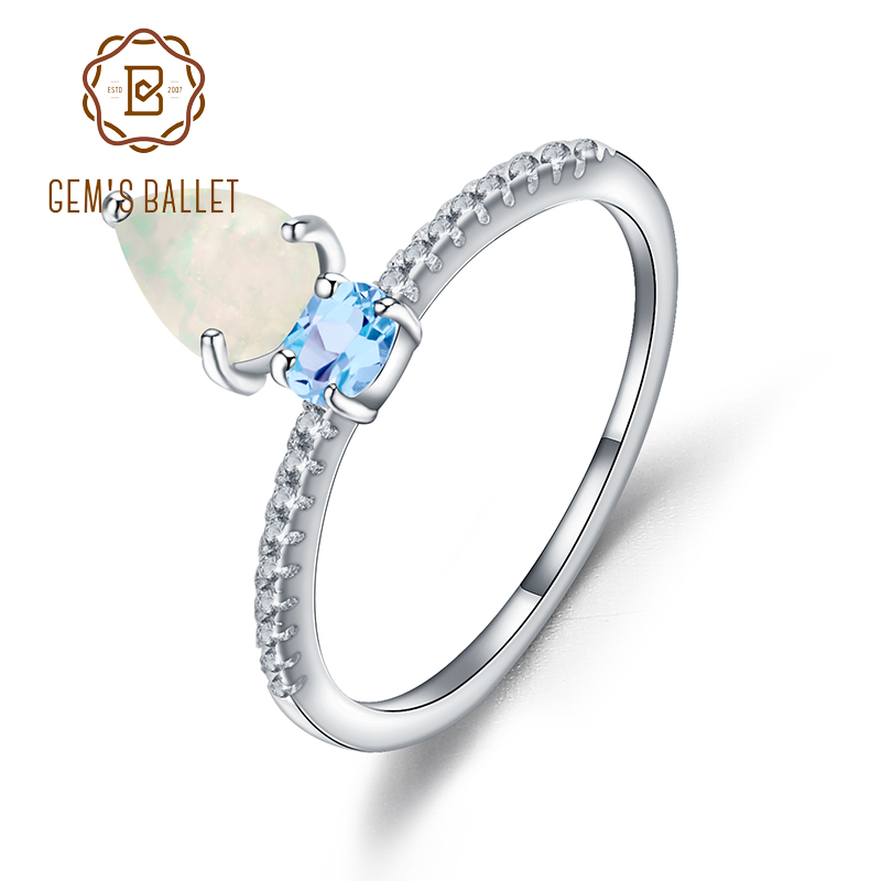 GEM'S BALLET Water Drop Natural African Opal Swiss Blue Topaz Ring 925 Sterling Silver Gemstone Rings For Women Wedding Jewelry