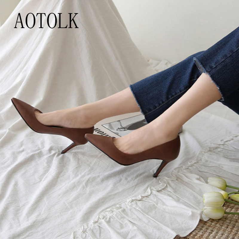 Women Pumps Female High Heels Brand Women Shoes Slip On Solid Female Heels Classics Casual Shoes Spring Autumn Pointed Toe 2019