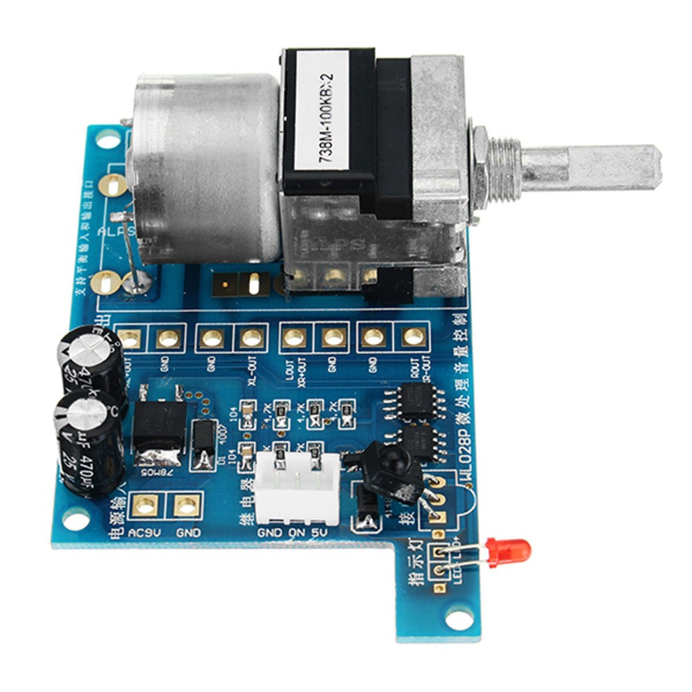AC/DC 9V Infrared Remote Controller Volume Control Board ALPS Pre Potentiometer Audio Amplifier