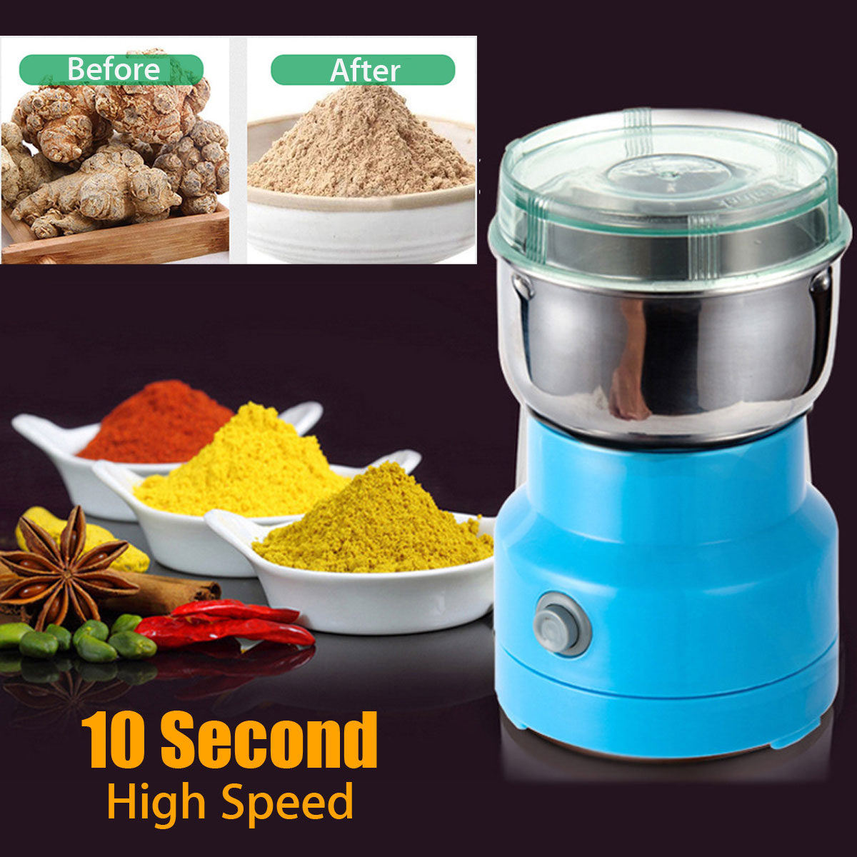 NEW Electric Herbs Spices Nuts Grains Coffee Bean Grinder Mill Grinding DIY Tool Home Medicine Flour Powder Crusher