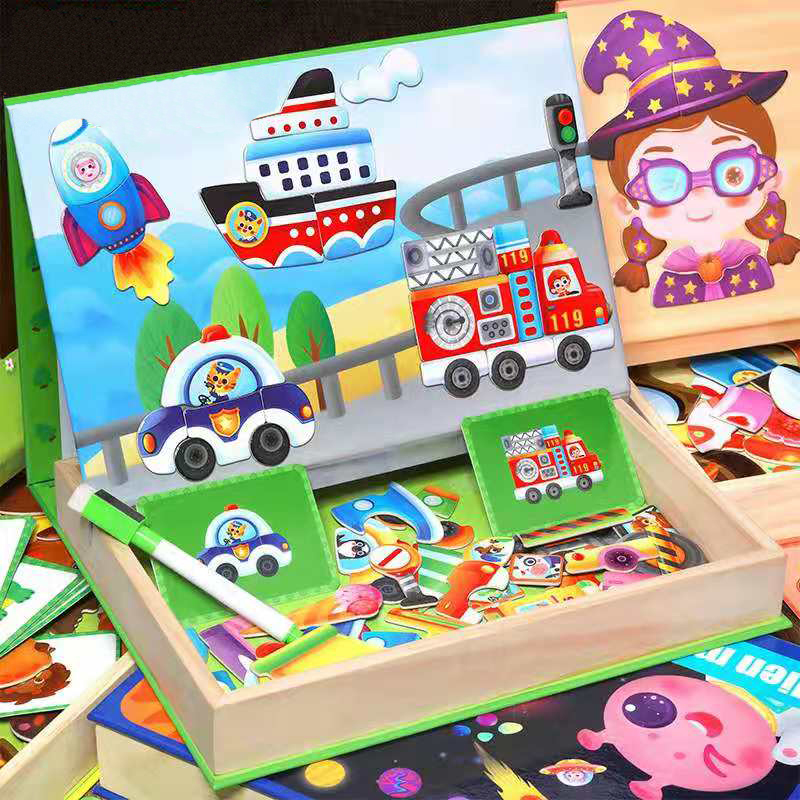 Kid 3D Wooden Magnetic Puzzle Toys Sticker Montessori Baby Early Educational Drawing Board Game Learning Toys Gifts For Children