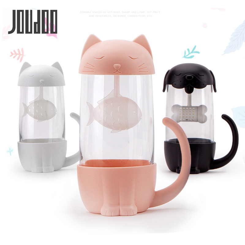 JOUDOO Cute <font><b>Cat</b></font> Glass <font><b>Cup</b></font> Tea Mug With Fish Infuser Strainer Filter Home Offices 35 image