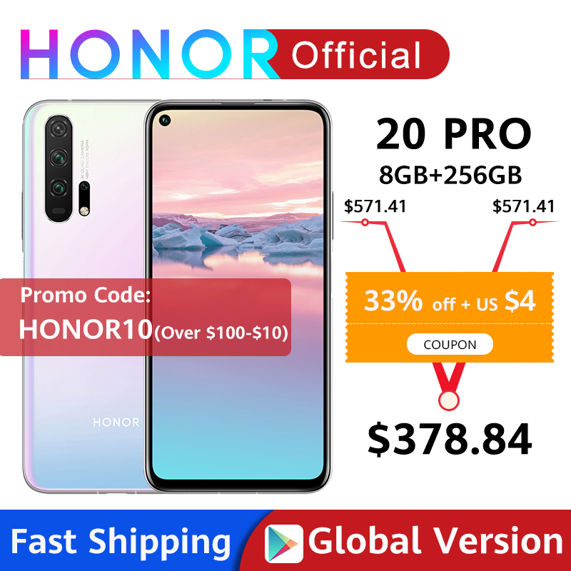 Global Version HONOR 20 Pro Google Play Smartphone 6.26''8GB 256GB Kirin 980 Octa Core 48MP Camera Mobile Phone Android NFC