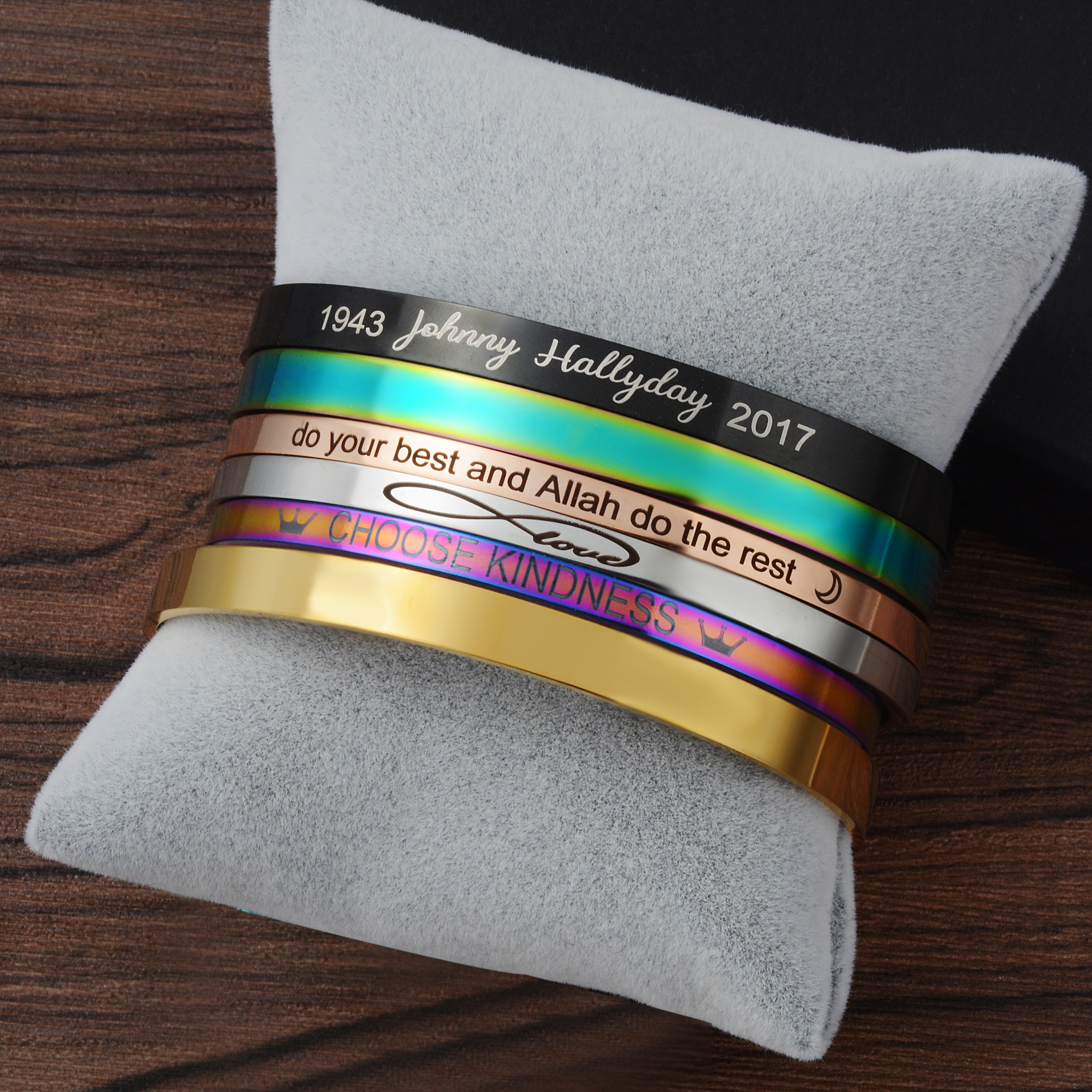 Customized Laser Engraved Bracelet For Men & Women Rose Gold/Gold/Silver Stainless Steel Adjustable Bangle Jewelry Friends Gift