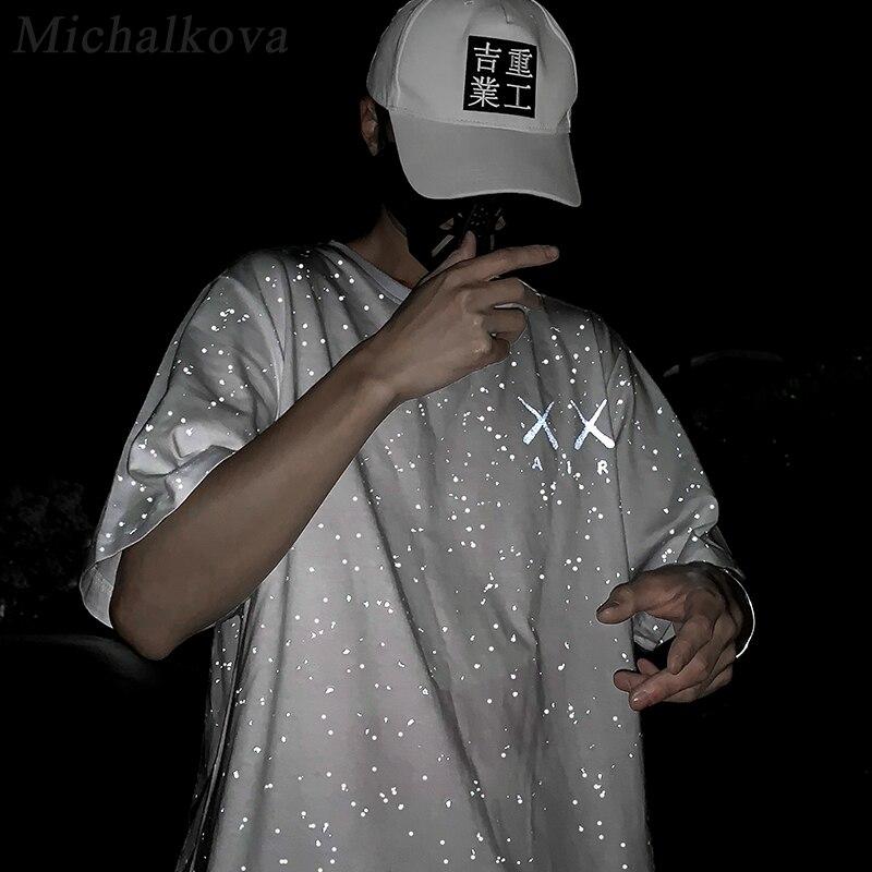 Michalkova 2020SS Мужская/Женская корейская модная одежда винтажная дизайнерская футболка хип хоп Покемон 3 м отражающий светильник аниме|Футболки|   | АлиЭкспресс
