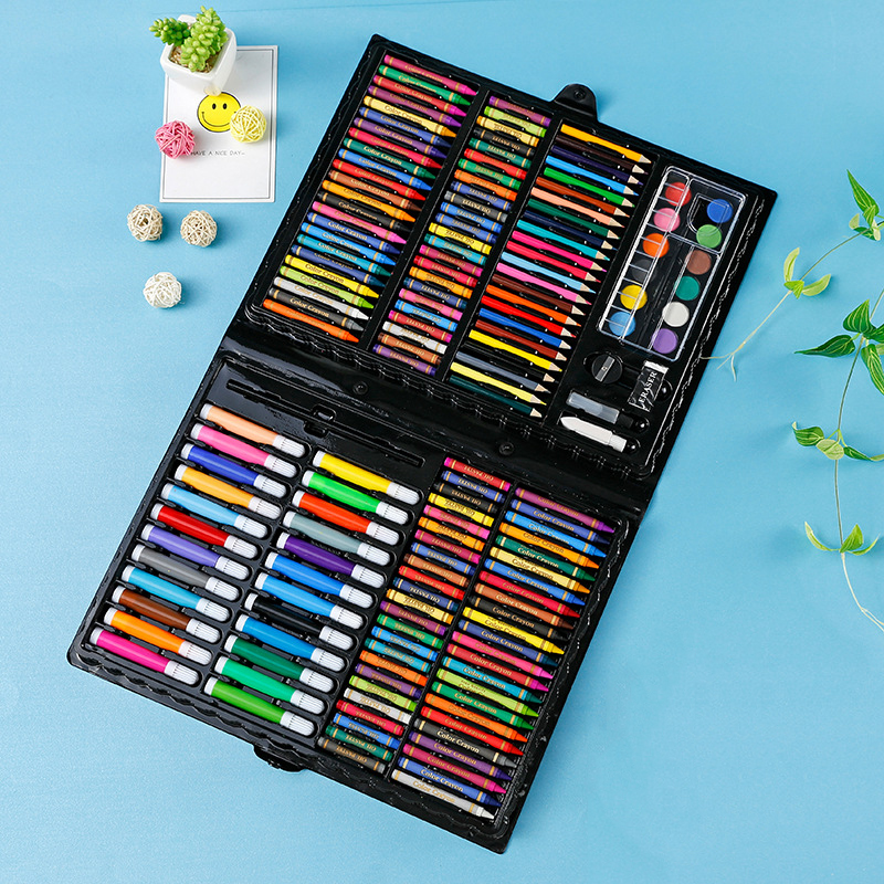 168 PCS Kids Gift Watercolor Drawing Art Marker Brush Pen Set Children Painting Art Set For Kids Gift Office Stationery Supplies