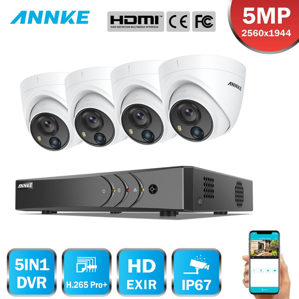 ANNKE 4CH 5MP Security Camera System 5MP Lite 5IN1 H.265+ DVR With 4PCS 5MP PIR HD EXIR Dome Weatherproof Surveillance CCTV Kit