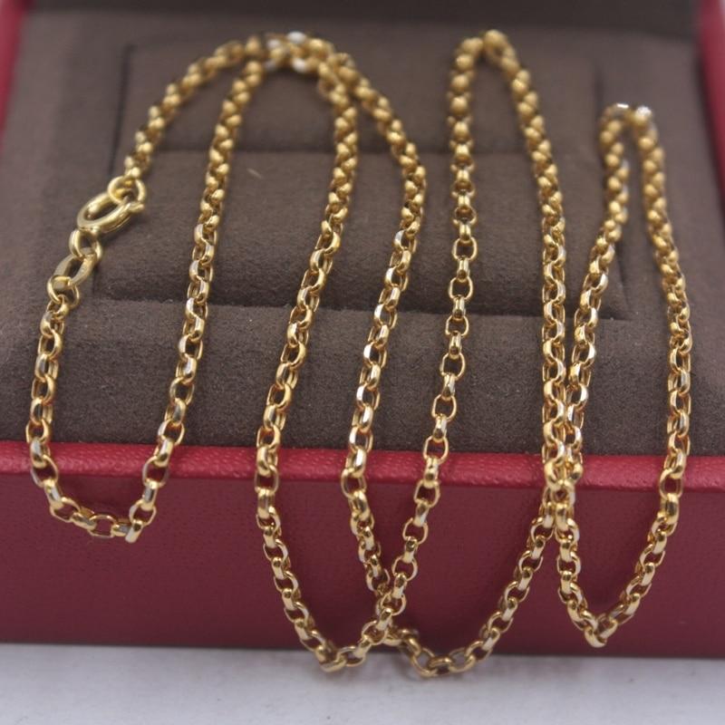 Pure 18k or jaune chaîne femmes chance Rolo câble lien collier 18 pouces 2mmW 2.15g