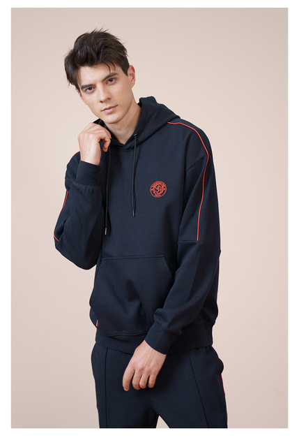 Black Hoodie with contract red lines