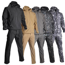 TAD Sharkskin Softshell Jacket Men Outdoor and Pants Hunting Waterproof Camouflage Clothes Camping Hiking Coat