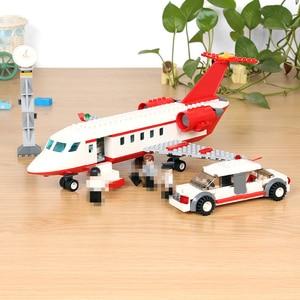Image 1 - 334pcs GUDI Aereo Building Block giocattolo Privato Getto Daria di grandi dimensioni Modello di istruzione/technic fai da te action figures giocattoli auto per i bambini