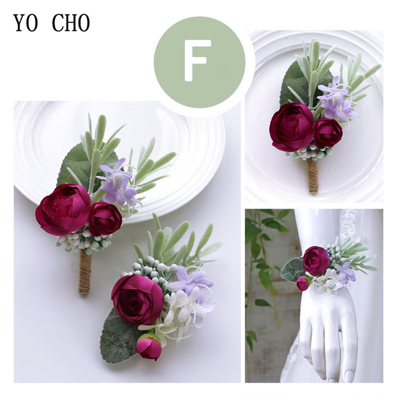 YO CHO Wedding Flower Wrist Corsage Bracelet Men Boutonniere Bridesmaid Wrist Corsages Girl Bracelet Pink Artificial Silk Rose