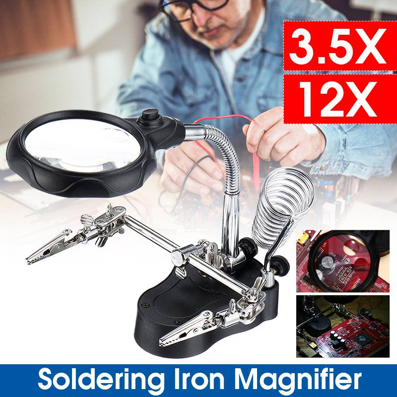 Professional 3 Hand Soldering Iron Stand Welding Tool + Illuminated Glasses LED Alligators Clip Holder Clamp Helping Hand Repair