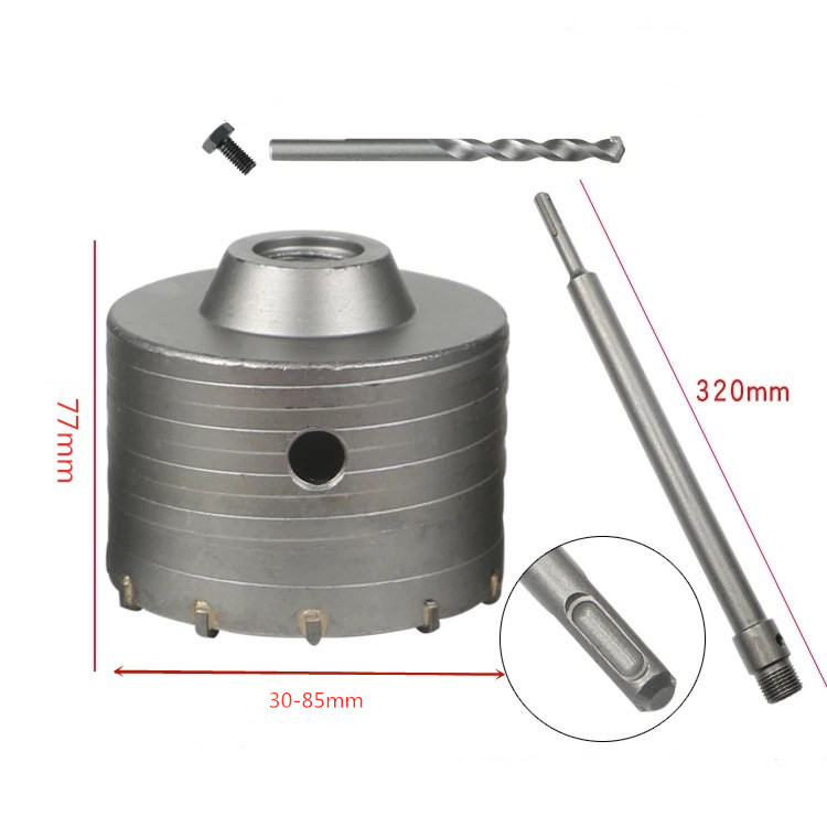 Shank Drill Bit 30mm 35mm 40mm 45mm 50mm 55mm 60mm 65mm 70mm 75mm 80mm 85mm Wall Hole Saw 320mm Rod For Concrete Cement Stone