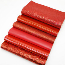 Red Series 6Pcs 20x22cm Shiny Glitter Fabric DIY Sewing Hair Bow Purse Decoration Material Accessories Synthetic Leather Fabric 6pcs 20x22cm shinny glitter fabric diy sewing patchwork faux leather upholstery fabric hnadicarft diy bow accessories material
