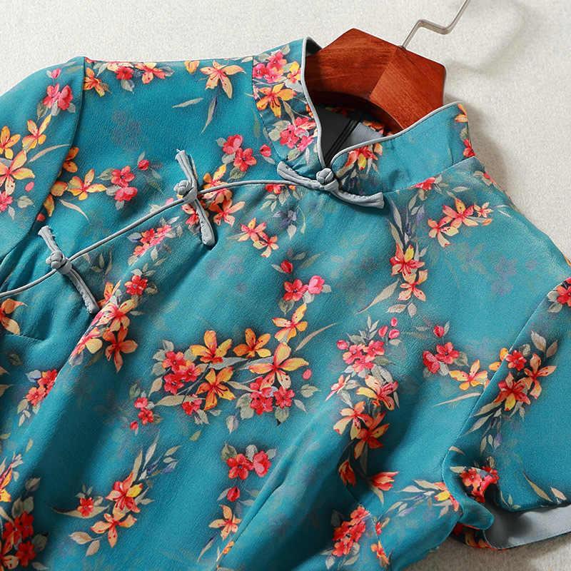 2020 New Vintage chińskich kobiet tradycyjny satyna jedwabna Cheongsam koszula z krótkim rękawem drukowanie Slim Fit krótkie bluzki LX1844
