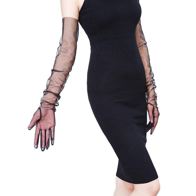 Elegant Women Ultra-thin Long Summer Driving Cycling Sexy Black Sunscreen Gloves Female Anti-UV Elasticity Lace Mesh Gloves 70cm