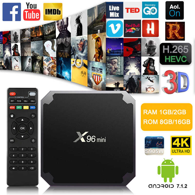 X96mini Android 7.1 X96 mini четырехъядерный Smart TV BOX ТВ Бокс 1 ГБ +8 ГБ2 ГБ +16 ГБ  S905W поддерживает 2.4G беспроводной WIFI ТВ приставка+IR кабель  смарт-top box