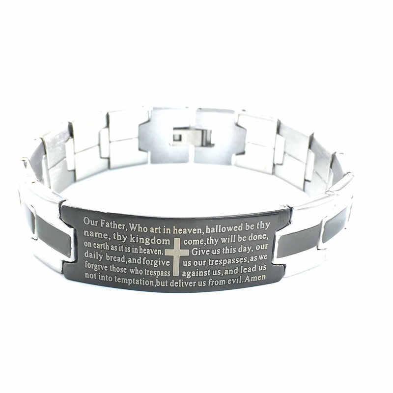 Neue Stil Punk Edelstahl Armband Englisch die Bibel Kreuz Schwarz Streifen Rock Und Roll Männer Titan Stahl Armband
